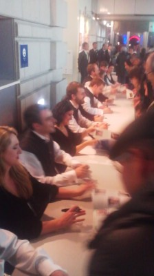 Members of ANUNA signing autographs and shmoozing witht he crowd at Nova Hall- December 5th 2014
