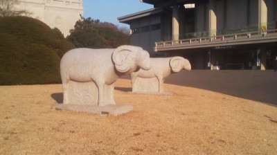 Sheep outside the National Museum in celebration of the onset of the Year of the Sheep