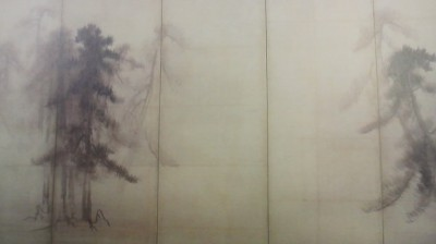 Pines painted on a screen by Tohaku ( National Treasure)
