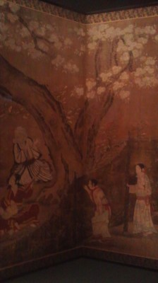 Revelry under the cherry blossoms (from a screen painting on display at the National Museum in Ueno)