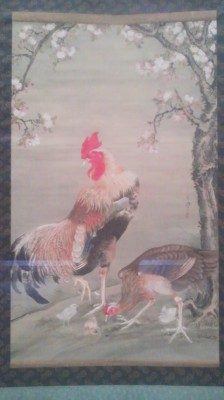 Chickens under the cherry blossoms (National Museum in Ueno)