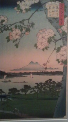 Cherry blossoms in Tokyo with Mt. Tsukuba looming in the background (Utagawa Hiroshige) at the National Museum in Ueno