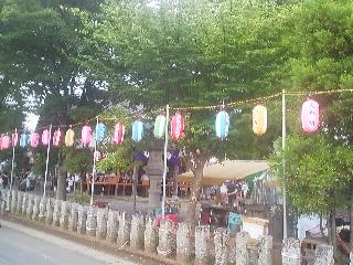 These colorful festive lanterns (with the names of sponsors written on them) are put up a few days before the festival day.