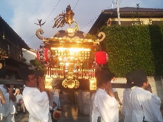 The MIKOSHI (portable shrine) being carried through the neighborhood on the evening of the summer festival