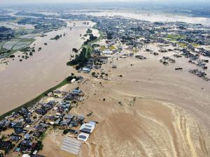 Flooding along the Kinu River on September 10, 2015