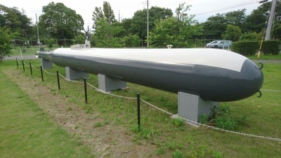 A Kaiten Manned-torpedo on the grounds of the Yokaren Museum