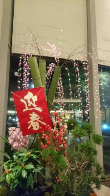 "Festive decoration at a hotel in Narita. The red banner proclaims: ""Spring, we welcome you !"" The branches decorated with pink and white balls represent both fruit on a tree and silkworm cocoons. The bamboo, plum, and pine are also auspicious symbols- pines are evergreen, plum blossoms bloom in the early spring while the weather is still quite cold, and bamboo grows straight and tall"