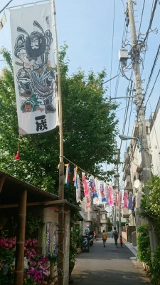 An intersting Children`s Day seen down an alley in Tokyo`s Shiina Machi neighborhood