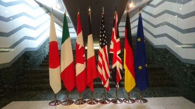 The flags of the G7 Nations flying in the lobby of Tsukuba`s Okura Hotel