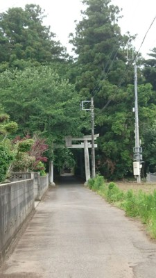 The Torii gate leading to the Ichinoya Yasaka Shrine is visible from the road