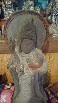 Now called the Kosodate Kanon (The Goddess of Childrearing) this image which is now housed at the Kakuo-Ji Temple in Hanamuro Tsukuba is a typical Mary and Child statue used by secret-Christians in this area.