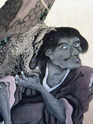 The Toad Hermit - by Satake Shozan. One of the Taoist Immortals of Chinese lore - and a motif that was not uncommon in Japanese art during the Edo Period. And since Mt. Tsukuba was a training ground for Taoist mountain ascetics (YAMABUSHI) perhaps the mountains mascot today - the toad - derives from this Chinese story