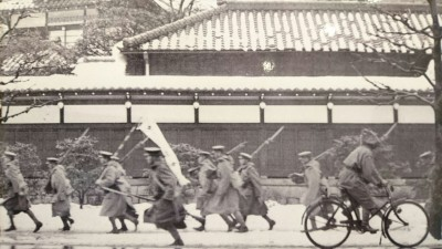 Rebellious officers of the Imperial Army racing through the streets of Tokyo during the failed coup d`etat of February 1936