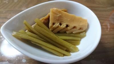 Fuki and bamboo shoots boiled in soy sauce, sake, mirin, sugar and dashi soup stock