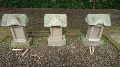 These small stone shrines represent larger shrines that once stood in the village