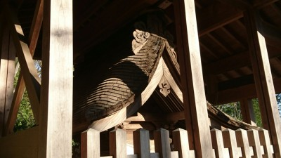 A close-up of the shrine which is protected by an outer structure called a SAYA (the same word used for a sword`s sheath)