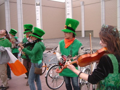 Traditional Irish music for St. Patrick`s Day in front of Ars Halls in Tsukuba.