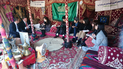On the day I visited the Roads of Arabia exhibition there was a tent set up out front. Dried dates and chai were served and anyone who wanted to was invited to join a seminar on Islam.