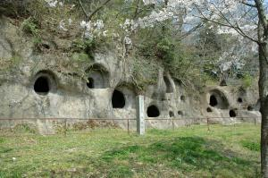 Near the Torazuka Kofun (with its intriguing murals) are these unusual (for Japan) burial caves (about 300 of them!) called the Ju-goro-ana (十五郎穴).